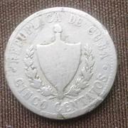 Старая Кубинская монета 5 сентаво 1915 г